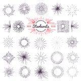 Collection of trendy hand drawn retro sunburst. Bursting rays design elements.  Stock Image