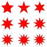 Collection of trendy retro stars shapes. Sunburst design elements set. Bursting rays clip art. Red sparkles. Best for sale sticker, price label, quality sign Royalty Free Stock Photo