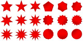 Collection of trendy retro stars shapes. Sunburst design elements set. Bursting rays clip art. Red sparkles. Best for sale sticker, price label, quality sign Royalty Free Stock Photography