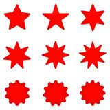Collection of trendy retro stars shapes. Sunburst design elements set. Bursting rays clip art. Red sparkles. Best for sale sticker, price label, quality sign Stock Image