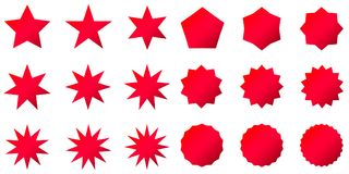 Collection of trendy retro stars shapes. Sunburst design elements set. Bursting rays clip art. Red sparkles. Best for sale sticker, price label, quality sign Royalty Free Stock Image