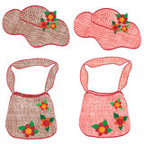 Collection of trendy wattled woman hats and bags Stock Images