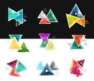 Collection of triangle web boxes - banners, business backgrounds, presentations Stock Images