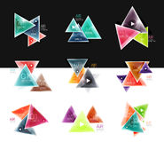 Collection of triangle web boxes - banners, business backgrounds, presentations Stock Photos
