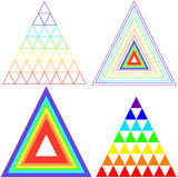 Collection triangles iridescent color. Royalty Free Stock Photos