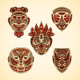 Collection of Tribal mask. Retro hand drawn Royalty Free Stock Images