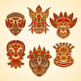 Collection of Tribal mask. Retro hand drawn Royalty Free Stock Photography