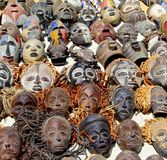 Collection tribal primitive African masks Royalty Free Stock Photos
