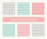 Collection of tribal seamless patterns with archaic geometric ornament Stock Images