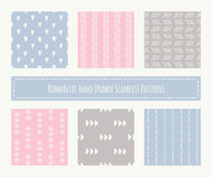 Collection of tribal seamless patterns with archaic geometric ornament Royalty Free Stock Image