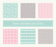 Collection of tribal seamless patterns with archaic geometric ornament Royalty Free Stock Photography