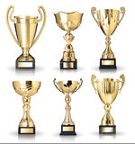 Collection of trophies. Set of golden cup trophies on white background Royalty Free Stock Photos