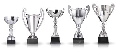 Collection of trophies. Set of silver trophies on white background stock images