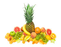 Collection of tropical fruits isolated Royalty Free Stock Images