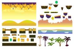 Collection tropicale de Forest Landscape Elements Realistic Vector pour le jeu vidéo sur le fond blanc Photo libre de droits