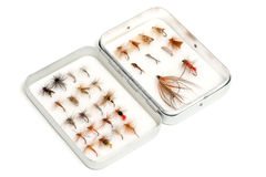 Collection of Trout Flies or Fishing Lures in Aluminum Case Royalty Free Stock Photography