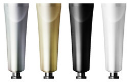 Collection of tubes. Collection of gold, silver, black and white paint tubes Royalty Free Stock Images