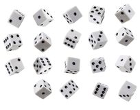 A Collection of Tumbling Dice Stock Image