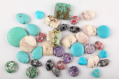 Collection of turquoise gemstones stock photography