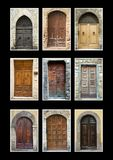 Collection Tuscany doors isolated black. Collection of Tuscan doors isolated on black background Stock Photography