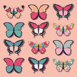Collection of twelve colorful hand drawn butterflies, pink background Stock Image