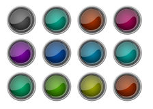 Collection of twelve glossy buttons Stock Image
