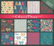 Collection of twelve hand drawn winter holidays seamless patterns Stock Photo