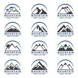 Mountain icons set. Collection of twelve mountain icons for travel business