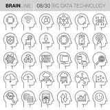 Mind Process Vector Technology Icons. Collection of twenty black and white vector icons showing various technology concepts as mind processes inside human mind Stock Images