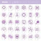 Mind Process Vector Technology Icons. Collection of twenty colored vector icons showing various technology concepts as mind processes inside human mind in thin Royalty Free Stock Photos