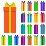 Collection of twenty multi colored gift boxes. Vector illustration Stock Photography