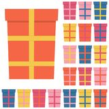 Collection of twenty multi colored gift boxes. Vector illustration Stock Photo
