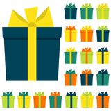 Collection of twenty multi colored gift boxes. Vector illustration Stock Image