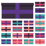 Collection of twenty multi colored gift boxes. Vector illustration Royalty Free Stock Photo