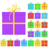 Collection of twenty multi colored gift boxes. Vector illustration Royalty Free Stock Image