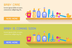 Collection of two banners with baby care, cute vector style Stock Images