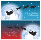 Collection of two  Christmas postcards. With Santa and moon stock illustration