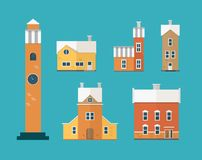 Collection of two-storey residential buildings and clock tower isolated on green background. Set of city or town houses Vector Illustration