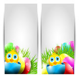 Collection of Two Vector Easter Cards with Chick Royalty Free Stock Photo