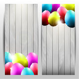 Collection of Two Vector Easter Cards with Colorfu Royalty Free Stock Images