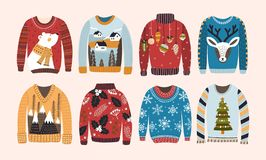 Collection of ugly Christmas sweaters or jumpers isolated on light background. Bundle of knitted woolen winter clothing. With various prints. Colorful vector vector illustration