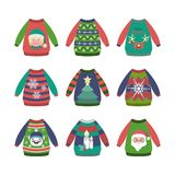 Collection of ugly Christmas sweaters with patterns Royalty Free Stock Photo