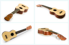 Collection of ukulele guitar isolated on white. Stock Photos