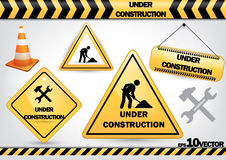 Collection of under construction signs Stock Photography