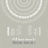 Collection of unique hand drawn floral pattern brushes. You can make different shapes with this brushes Royalty Free Stock Image