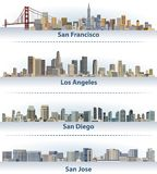 Vector collection of United States city skylines: San Francisco, Los Angeles, San Diego and San Jose. Collection of United States city skylines: San Francisco vector illustration