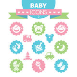 Collection of universal baby icons Royalty Free Stock Photography