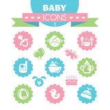 Collection of universal baby icons Stock Photos