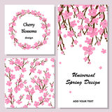 Collection of universal cards with cherry blossoms. Spring wreat. Set of different backgrounds and cards for different projects Stock Photo