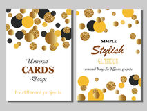 Collection of Universal Cards with Gold Glitter Dots. Collection of Universal Modern Stylish Cards Templates with Golden Geometrical Glitter Dots. Creative Stock Photography
